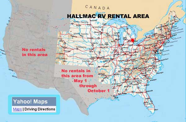 HallMac RV Rental Area on travelocity driving directions, need map for driving directions, mapblast driving directions, amazon driving directions, mapquest driving directions,